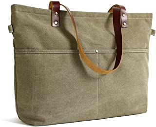 Leather Canvas Tote Bag Genuine Leather Tote Bag with Zipper Shopper Work Tote for Women
