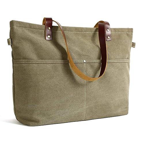 07663d5f2f ROCKCOW Waxed Canvas with Leather Tote Bag Shoulder Bag Metal zipper Handbag