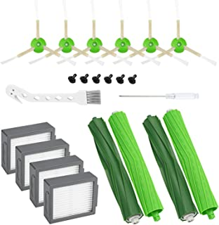 Cabiclean 14 Pack Replacement Parts for iRobot Roomba i7 i7+/i7 Plus E5 E6 Series Vacuum Cleaner Set - Includes 4 Pack Filter, 4 Pack Filter, 4 Pack Side Brush, and 2 Set Multi-Surface Rubber Brushes