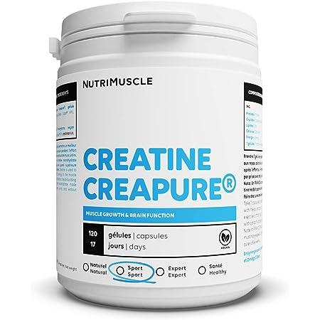 Créatine 100% Pure | Créatine monohydrate Creapure® • Prise Masse Musculaire • Musculation Homme • Complément Whey Protéine | Nutrimuscle | 120 Gélules