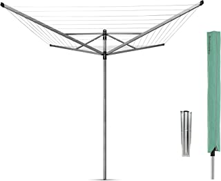 Brabantia Lift-O-Matic Rotary Clothes Line with Ground Anchor and Protective Case, 50 m