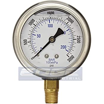 4,000 psi 1//8 in-27 NPT 16 Pack Polished Brass 1 1//2 in Welding//Compressed Gas Gauge
