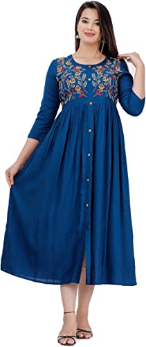 DMP FASHION Women's Rayon Embroidery Work Flared Kurti (Teal Blue)