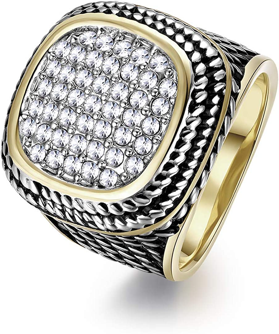 Twisted Cable Wire Rings Designer Inspired Vintage Ring with Zirconia