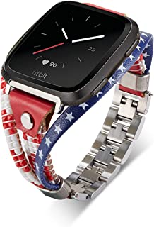 American Flag Band, Compatible with Fitbit Versa 2/Lite/1, US The Stars Stripes Leather Bands, Stainless Steel Qucik Release Adjustable Size, Handmade Replacement Women