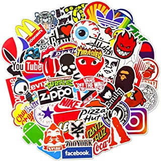 Waterproof Vinyl Stickers for Laptop Water Bottles Hydro flask Motorcycle Bicycle Skateboard Luggage Car Bumper Guitar Decals (100 Pcs Brand Logo Style Stickers)