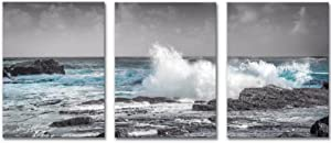 Ocean Wave Canvas Wall Art Bathroom Decor Prints Picture 3 Pieces Beach Blue Sea Waves Black Rocks Artwork Framed Art Wall Decorations Modern Home Room Wall Ready to Hanging Arts Office 12x16x3 inch