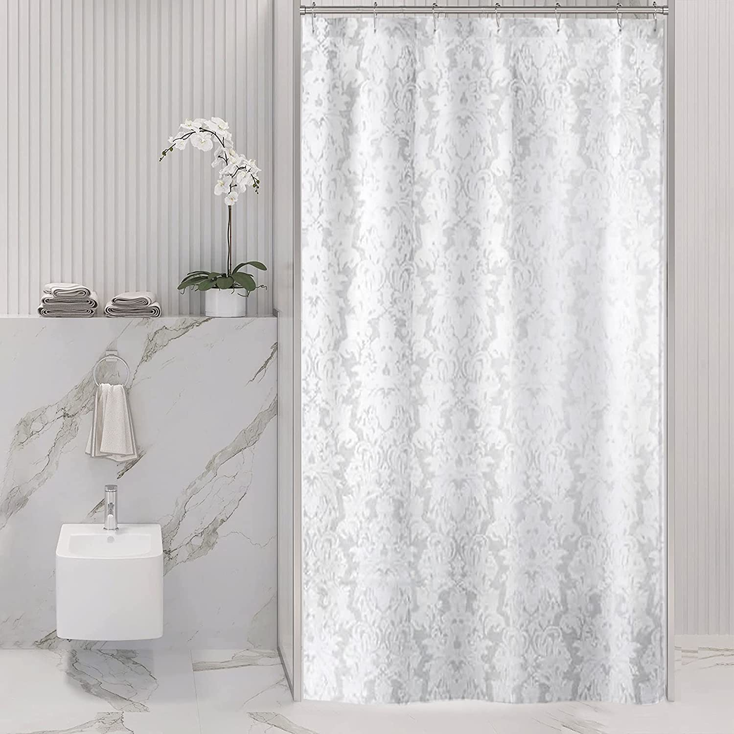 Riyidecor Small Stall OFFicial store Shower Curtain White trend rank 36W Damask Floral x 7