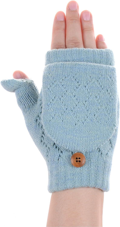 Women's Winter Cozy Fleece Lined Convertible Fingerless Knit Mittens Gloves