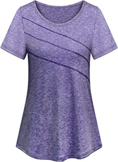 Cucuchy Womens Yoga Workout Tops Short Sleeve Crew Neck Casual Fitness Shirts