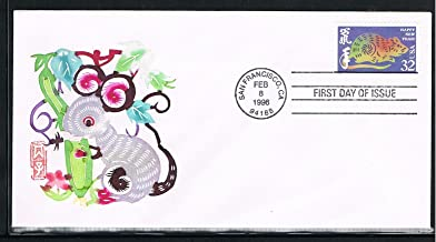 1996 - The 4th USA Lunar Stamp for The Year of the Rat First Day Cover-Cachet by Handmade Paper-Cut