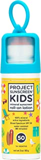 Project Sunscreen Roll-On SPF 50 Sun Protection for Kids - Natural Mineral Based and Water Resistant Formula For Sensitive...