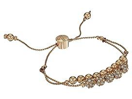 Double Row Round Bead and Fireball Slider Bracelet