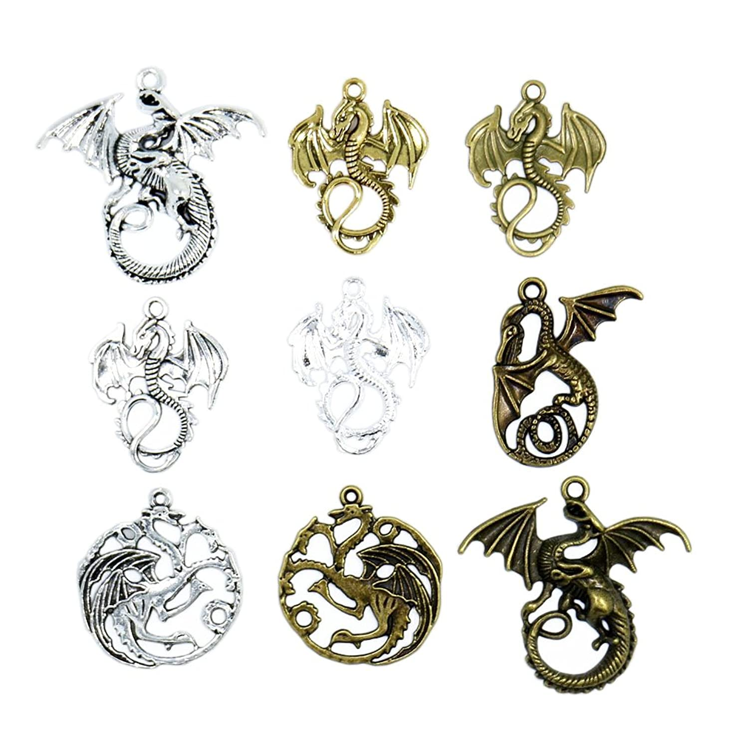 Vintage Metal Dragon Charms Pendant For Jewelry Making Diy Zinc Alloy Animals Dragon Pendant Charms Wholesale 20pcs/lot