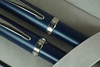 Sheaffer 100 Matte Blue Collection with Nickel appointments and Sheaffer dot of Excellence Rollerball Pen and 0.7MM Pencil Set