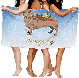 Qyahooshy Bath Towel Chicago Dog Designed Soft Large Swim Beach Towels