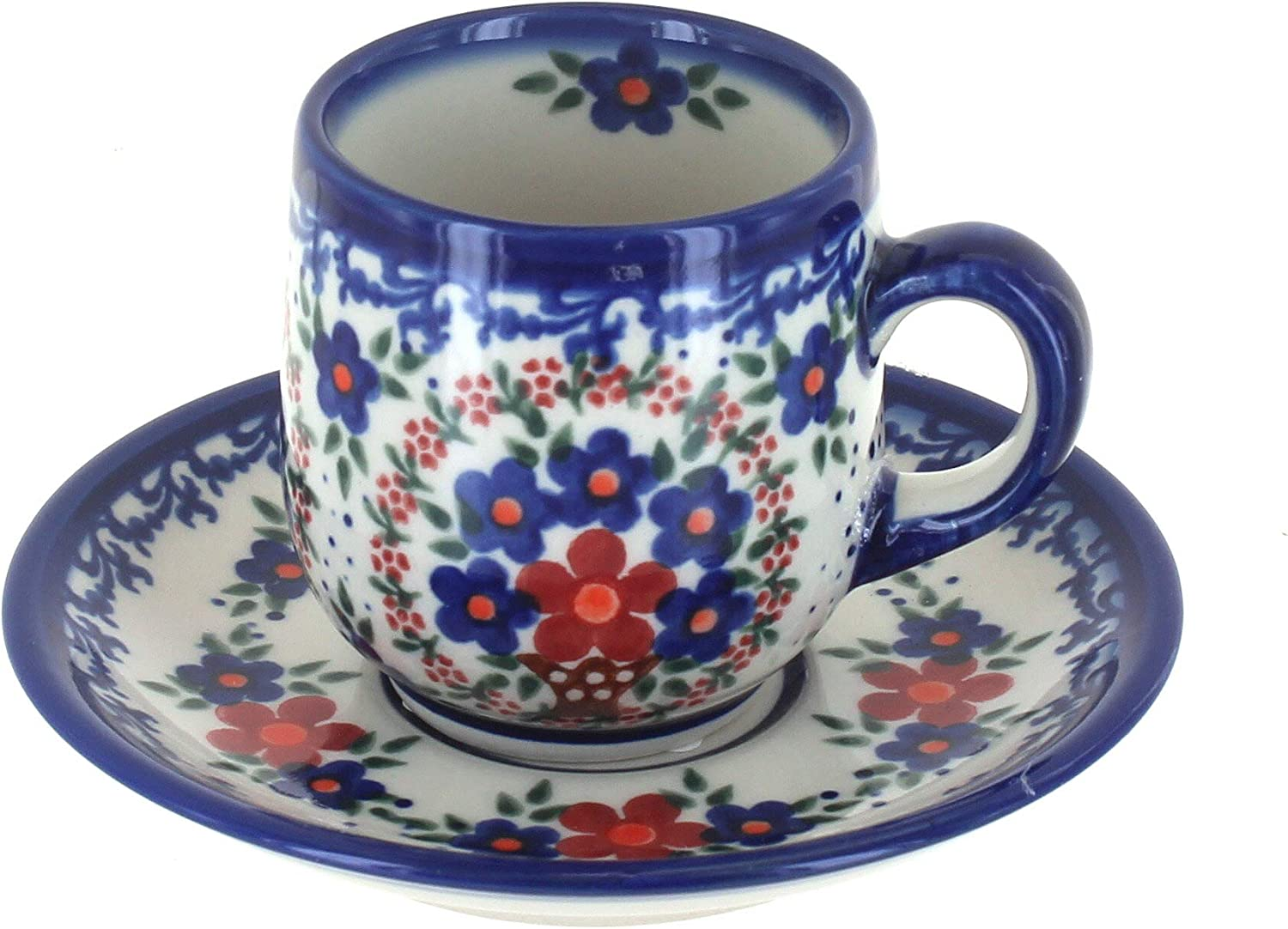 2021new shipping free Blue Direct sale of manufacturer Rose Polish Pottery Old Espresso Cup Saucer Fashion
