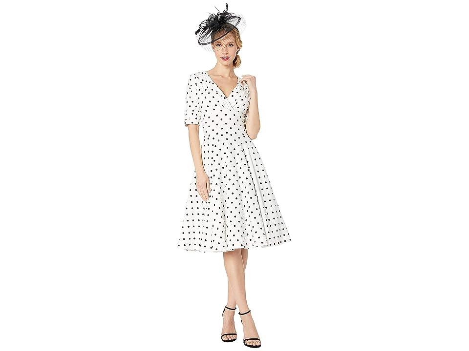 6df994fc513 Unique Vintage 1950s Delores Swing Dress w/ Sleeves (White/Black Dot) Women