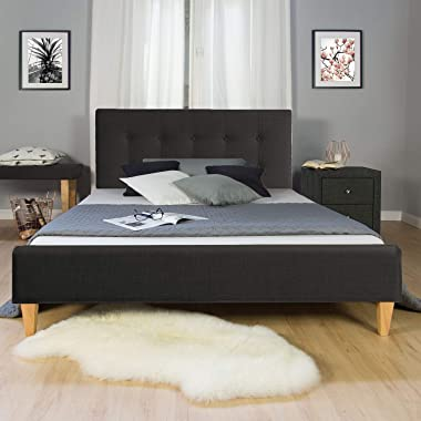 Homestyle4u 97 Lit Double en Tissu avec sommier à Lattes Noir