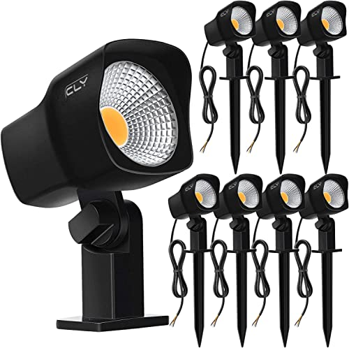 CLY 7W LED Landscape Spotlights Low Voltage Garden Pathway Lights IP66 Waterproof Warm White for Outdoor LightsSwimming PoolPatioDriveway Yard Lawn(8 Pack) (Black)