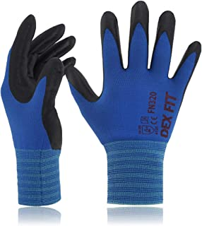 DEX FIT Gardening Work Gloves FN320, 3D Comfort Stretch Fit, Power Grip, Thin Lightweight, Durable Foam Nitrile Coating, Machine Washable, Blue X-Large 3 Pairs