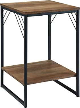 Walker Edison Furniture Company Modern Metal and Wood Corner Square Side Accent Living Room Storage Small End Table, 16 Inch,