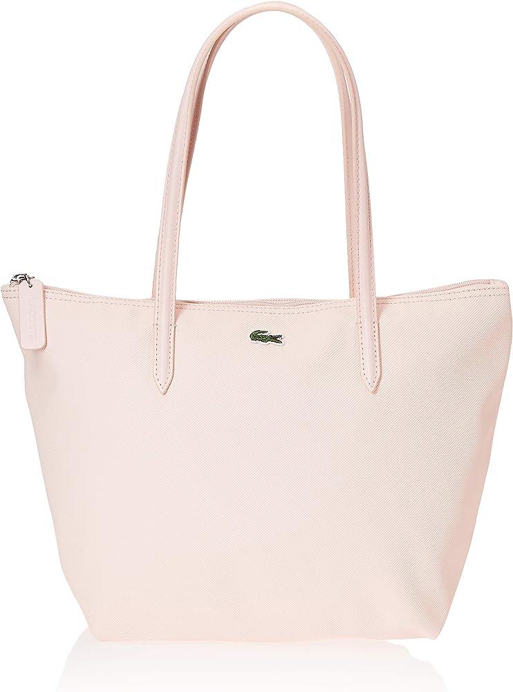 Lacoste, borsa a mano/spalla da donna, in pique` plastificato, bianca NF2037POA