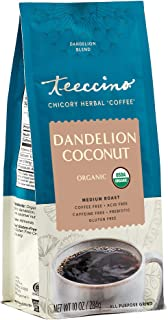 Teeccino Coffee Alternative – Dandelion Coconut – Detox Deliciously with Dandelion Herbal Coffee That's Prebiotic, Caffein...