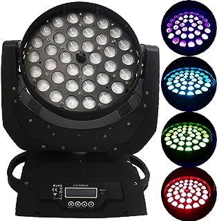 BuoQua Luz de Escenario Cabeza Móvil 36x10W RGBW (4 en 1) Focos de Iluminación de Escenario 4 Colores LED Lámpara de Iluminación de Escenario para DJ Fiesta Disco Cumpleaños y Boda