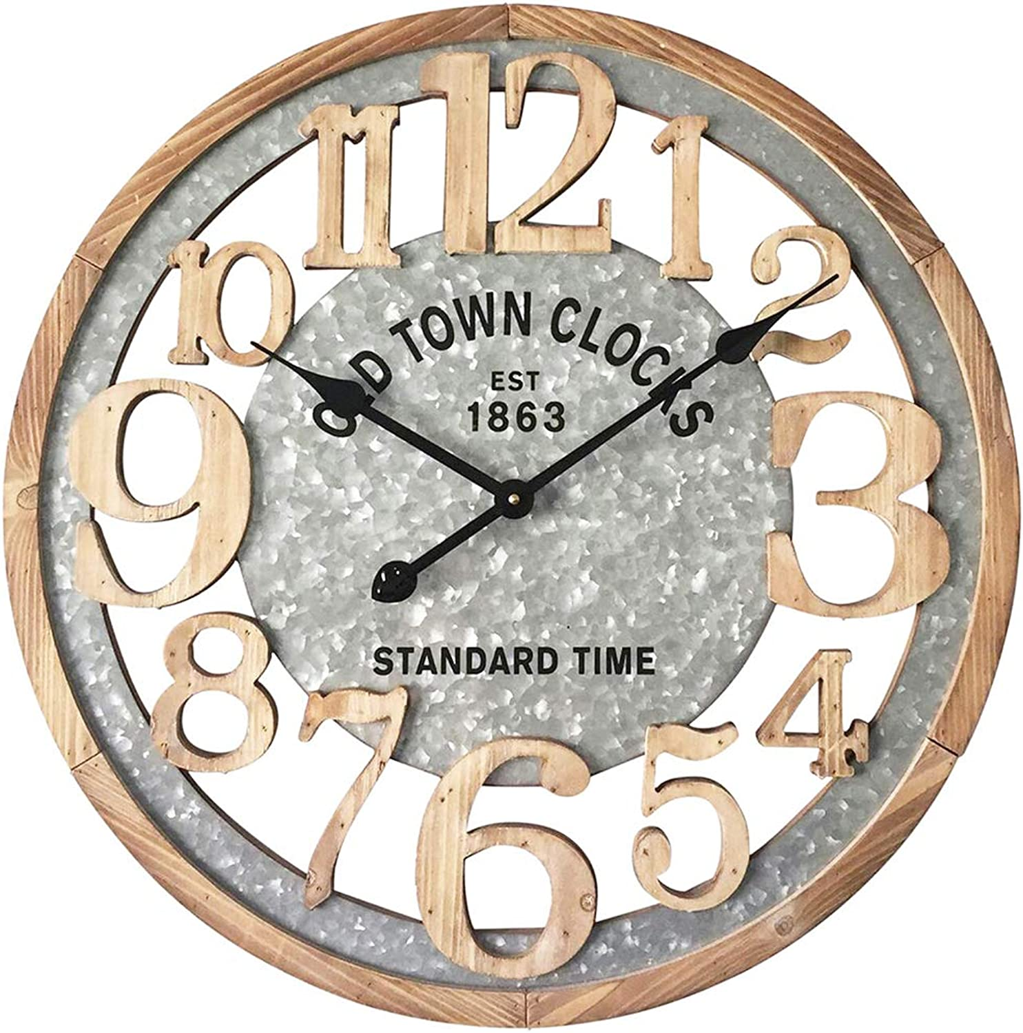 MODE HOME 24  Large Numbers Wall Clock, Wood Wall Clock, Laser Cut Vintage Clock, Silent No Ticking Mechanism, Unique Wall Clock, Modern Rustic Wall Decor