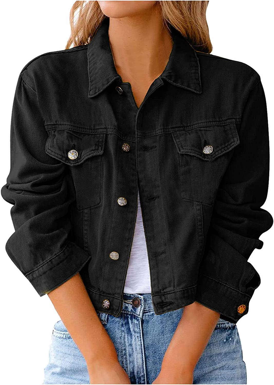 Women Casual Denim Jacket Tops Max 73% OFF Down Online limited product Vintage Sh Button Distressed