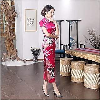 Ashley-OU Satin Dress Printing Long Dresses China Ethnic Characteristics Cheongsam Flower Qipao