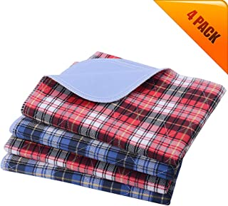 KOOLTAIL Washable Pee Pads for Dogs - Waterproof Dog Mat Non-Slip Plaid Puppy Potty Training Pads, Reusable Whelping Pads Blue & Red