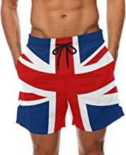 LORVIES Men's UK British Flag Beach Board Shorts Quick Dry Swim Trunk