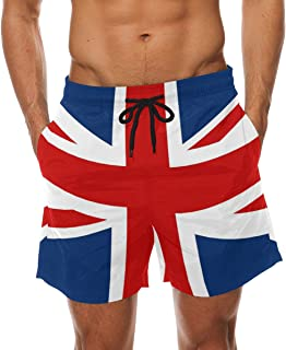 COOSUN Men's UK British Flag Beach Board Shorts Quick Dry Swim Trunk