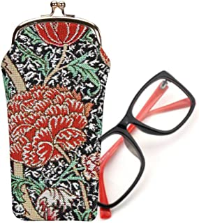 Signare Tapestry Black Stylish Glasses Sunglasses Pouch Storage Case in William Morris The Cray (GPCH-CRAY)