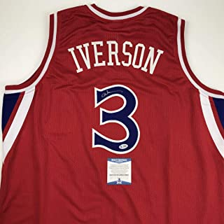Autographed/Signed Allen Iverson Philadelphia Red Basketball Jersey Beckett BAS COA