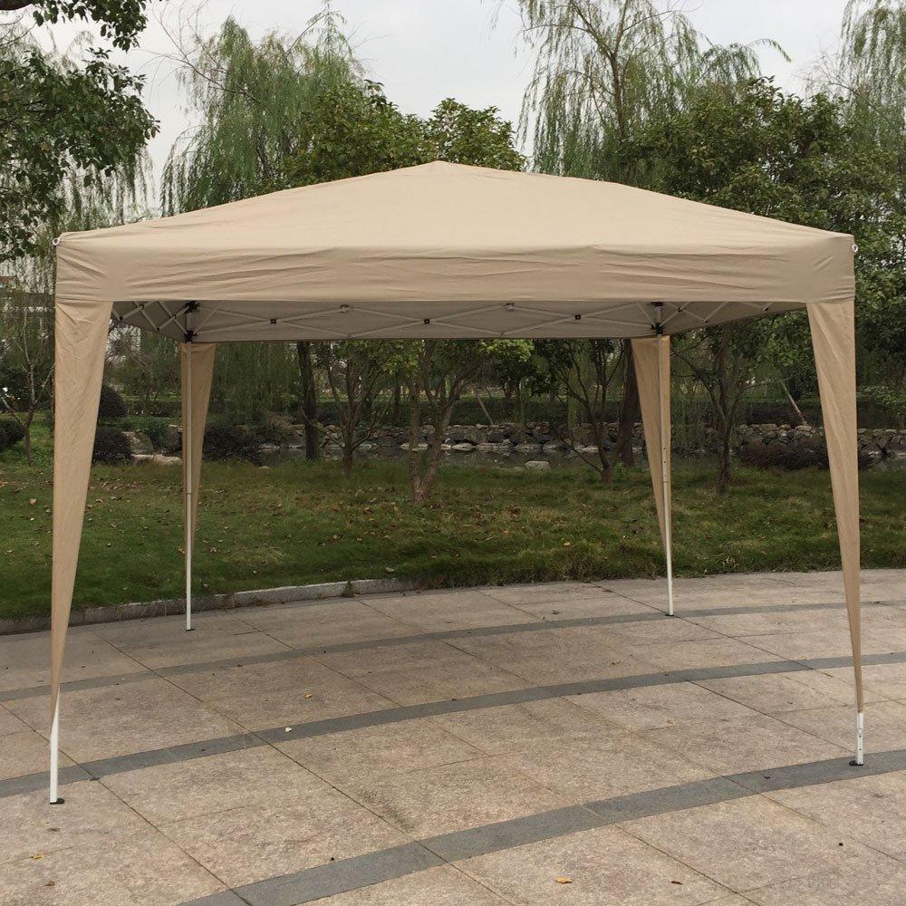 ZZZTDM Patio EZPop Up Canopy, 10 X 10 plegable portátil tienda de campaña instantánea toldo impermeable con bolsa de transporte para fiesta comercial barbacoa, refugio de sombra resistente caqui.: Amazon.es: Jardín