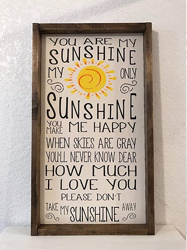 CELYCASY You Are My Sunshine Sign Framed Wood Sign Nursery Decor Baby Room