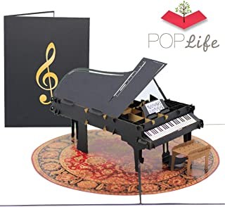 PopLife Grand Piano Pop Up Card for All Occasions - Happy Birthday, Graduation, Congratulations, Retirement, Fathers Day - Musicians, Teacher & Student, Music Lovers - Folds Flat for Mailing