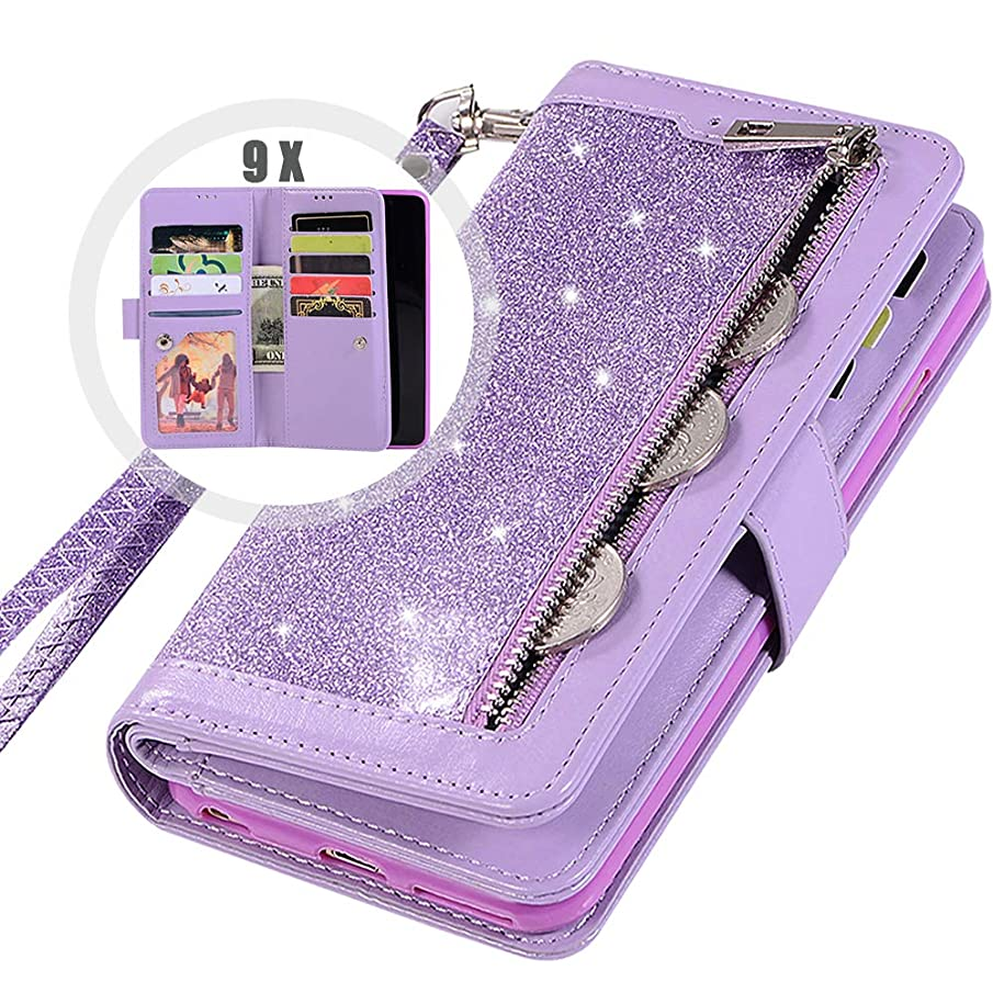 Galaxy S9Plus Wallet Case with Strap,Auker Bling Glitter Folio Flip Leather Trifold 9 Card Holder Folding Stand Magnet Zipper Wallet Purse Case w/Money Pocket for Women Samsung Galaxy S9Plus (Purple)