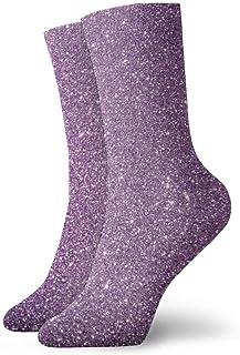 tyui7, Purple Bling Glitter Calcetines de compresión antideslizantes Cosy Athletic 30cm Crew Calcetines para hombres, mujeres, niños