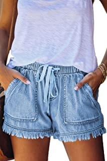 YOCUR Womens Lightweight Shorts Casual Baggy Trendy Short Pants Elastic Waist Drawstring Comfy Paperbag Shorts
