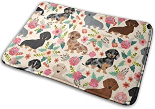 Dachshund Floral Vintage Flowers Doxie Fabric Doxie Dachshunds Design Cute Doxie Dog Floor Bath Entrance Rug Mat Absorbent...