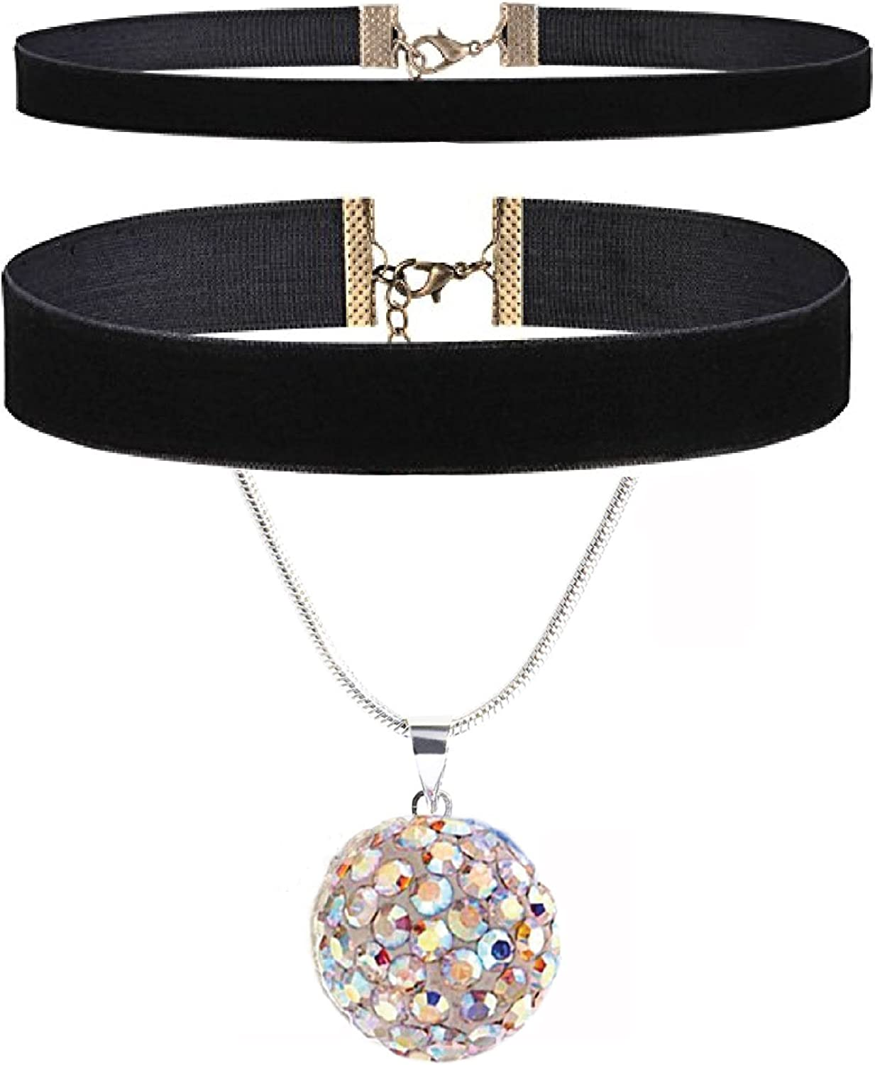 BodyJ4You 4PC Jewelry Gift Set Black Choker Aurora Pave Crystals Ferido Ball Necklace Stud Earrings