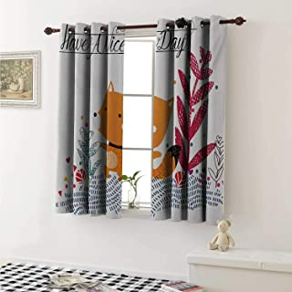 shenglv Fox Window Curtain Fabric Cute Little Fox Character Colorful Geometric Spring Field Have a Nice Day Text Dots Curtains and Drapes for Living Room W55 x L63 Inch Multicolor