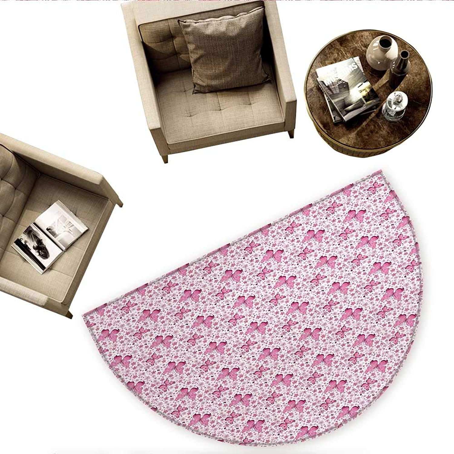 Butterfly Semicircle Doormat Floral Arrangement and Cute Hearts Background Animals with Vibrant colors Halfmoon doormats H 59  xD 88.6  Pale Pink White