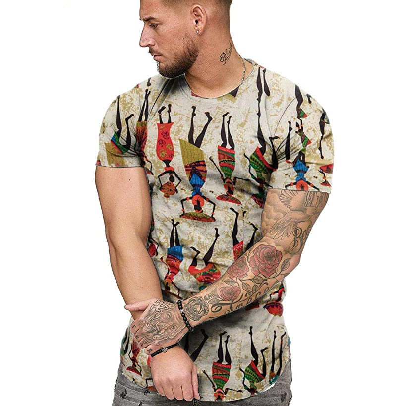 Letdown_Men tops Men Tshirts Graphic Funny Short Sleeve O-Neck African Print Casual Slim Fit Summer Fashion Top Blouse
