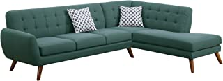 Poundex Bobkona Belinda Linen-Like Polyfabric SECTIONAL in Laguna