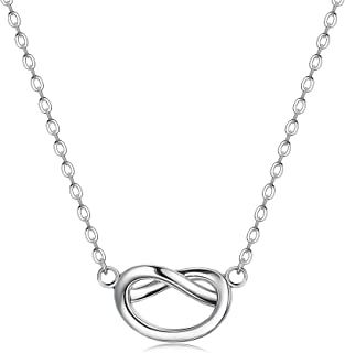 925 Sterling Silver Small Forever Love Knot Necklace Clavicle Necklace for Women Girls Teen Infinity Pendant Bridesmaid Jewelry Gift
